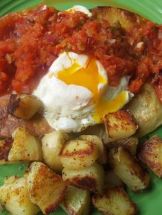 Huevos Rancheros - Hispanic Kitchen [I often make these for breakfast, with not-fried tortillas & refried beans. Adding potatoes would round it out nicely for dinner!]