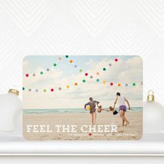 How adorable is this 'Cheery Garland' #Holiday Photo Card? Simply add your favorite family photo. #Christmas