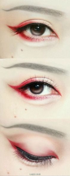 Gentle curves eyebrows and red winged eyeshadow
