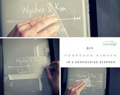 DIY - Voordeur pimpen in 6 eenvoudige stappen met een voordeursticker met hartje en alle voornamen van de gezinsleden! #voordeursticker