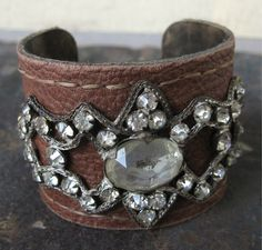 Brown Leather Cuff Bracelet with Antique Rhinestone Applique Embellishment 2 inches Tall