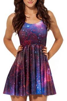 Purple Galaxy Print A-line Tanks Dress