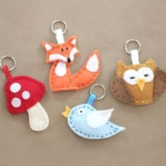 Theses cute little critters would make great stocking suffers, tree ornaments, zipper pulls or a nursery mobile. Template for all 4 included