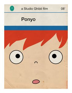 Ponyo mini poster, vintage Penguin book style | By 845studio
