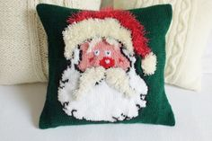 Santa Claus knit pillow cover Christmas red and by Adorablewares
