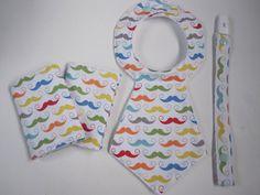 Moustache baby gift set   boys Necktie dummy clip by LiddleBerry, $21.00