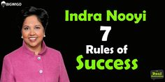 Indra Nooyi 7 Rules of Success Indra Nooyi, Chief Architect, Fight For Us, One Drop, Business Motivation, Success, Pepsi, Videos, Music
