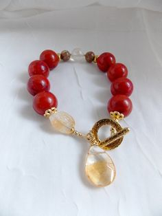 Sponge Coral Citrine Toggle Bracelet Gemstone Stack Bracelet Red Coral Beaded Bracelet Natural Citrine Dangle Charm