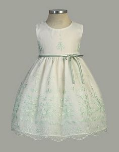 Flower Girl Dress Style 307 - Gorgeous Bouquet Embroidered Organza Dress $39.99