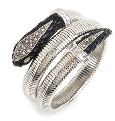 Sterling silver coil bracelet with BLACK resin serpent head and tail