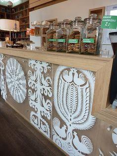 Wycinanki/paper cutting inspired decoration by Grzegorz Wacławek Cafe Design, Store Design, Display Design, Paper Art, Paper Crafts, Polish Folk Art, Paper Cut Design, Kirigami, Retail Design