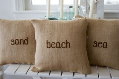 Handmade Burlap Pillows available in beach, sand, sea, shells and surf. Only $36. made with love!