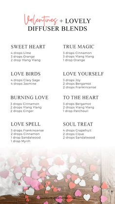 8 easy diffuser blend ideas for you to try this Valentine's Day! Use your Young Living essential oils to make these diffuser blends - perfect the whole month of February. Essential Oils For Headaches, Essential Oil Diffuser Blends, Doterra Essential Oils, Doterra Diffuser, Young Living Oils, Young Living Essential Oils, Oil For Headache, Stress, Love