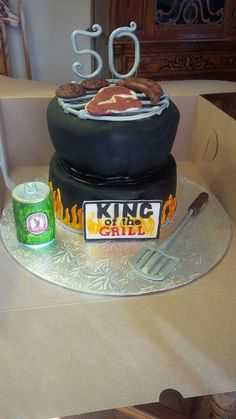 BBQ King of the grill 50th birthday cake