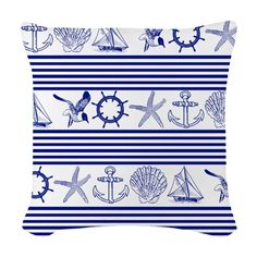 Nautical objects and animals Designer Throw Pillows, Nautical, Objects, Tapestry, Fabric, Animals, Home Decor, Navy Marine, Hanging Tapestry