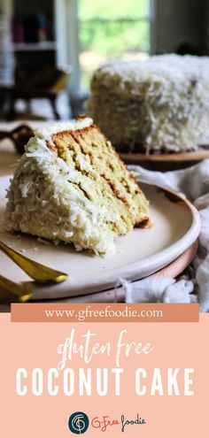 The gluten free homemade Coconut Cake is my favorite birthday/celebration cake. It's light, fluffy, sweet, and loaded with coconut flavor! No birthdays on the calendar? No worries! This dreamy dessert will turn any occasion into a celebration. #gfreefoodie #glutenfree #cake #coconuts #birthdaycake Gluten Free Coconut Cake, Best Gluten Free Desserts, Easy No Bake Desserts, Delicious Desserts, Cheesecake Recipes, Cupcake Recipes, Dessert Recipes, Traditional Easter Desserts, Homemade Snickers