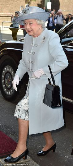 Looking good: Her Majesty, seen here making her way inside, was accidentally declared dead...