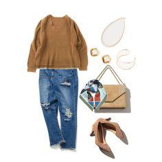 シンプルニット大人コーデ stylist:chie beige denim casual ponte  outfit coordinate ootd