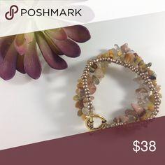 NEW three strand gemstone bracelet New glass brass jasper and agate KatDJewelry Jewelry Bracelets