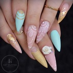 Sexuality Acrylic Stiletto Nails In 2019 Summer - Nail Art Connect Fancy Nails, Gold Nails, Trendy Nails, Cute Nails, Pointy Nails, Stiletto Nail Art, Acrylic Nails, Fabulous Nails, Gorgeous Nails