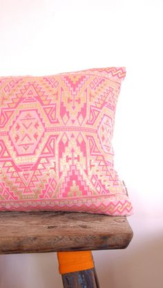 NeonVintageDesign | Limited Edition Vintage Aztec Fabric (pink & gold geometric pattern)