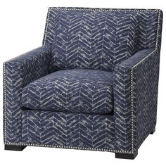 Massoud Chair in Clarice Blue Blue Leather Chair, Nebraska Furniture Mart, Armchair, Living Room, House, Home Decor, Style, Image, Sofa Chair