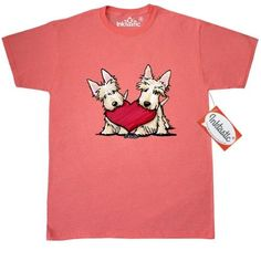 Inktastic Heartfelt Scottie Duo Women/'s T-Shirt KiniArt Scottish Terrier Dogs