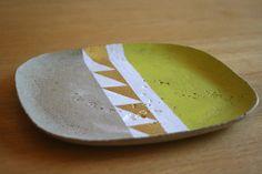 Deko-Objekte - Betonteller gelb & gold - ein Designerstück von…