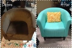 How To Paint Fabric Furniture. I love the colour it ended up!