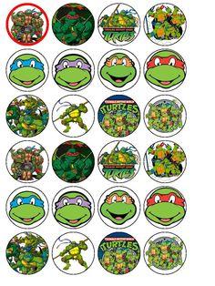 24 X Teenage Mutant Ninja Turtles Edible Wafer Cup Cake Top Toppers  cakepins.com
