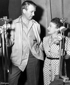"""James Stewart and the wonderful Thelma Ritter between scenes of """"Rear Window."""""""