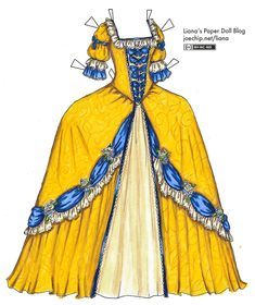 Golden Yellow and Blue 1700s Gown | Liana's Paper Dolls