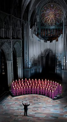 Conductor Bjorn Moe and his choir in the norther most medieval cathedral in the world, Nidaros. (Trondheim, Norway)