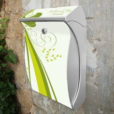 Silber Wunschtext Briefkasten Swing Green Swirl von banjado via dawanda.com