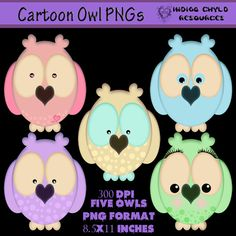 Cartoon Owl PNG Pack by indigochyld on Etsy, $2.75