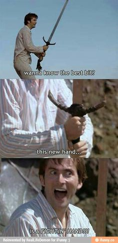 "I always liked that switch to a US western accent for this line! ""It's a fightin' hand!"""