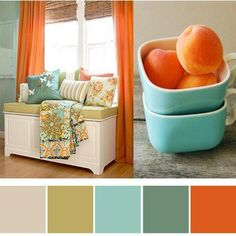 Orange and turquoise Love this color palette. these are the colors of my living room Bedroom Colour Palette, Bedroom Colors, Bedroom Decor, Playroom Colors, Baby Bedroom, Basement Colors, Ikea Bedroom Design, Basement Designs, Bedroom Curtains