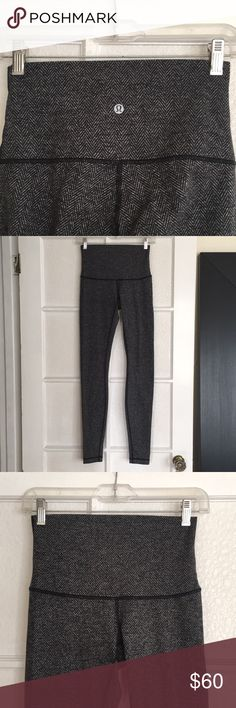 "Lululemon wunder under sz 4 herringbone black I think the color is ""coco pique and black herringbone"". Super cute and warm! High rise, inseam is 30-31"" ish so you can wear over your heels :) lululemon athletica Pants Leggings"