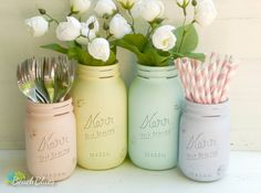 Water Colors - Home and Wedding Decor - Pastel - Painted and Distressed Shabby Chic Mason Jars - Vase