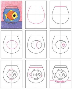 How to Draw a Fish Bowl · Art Projects for Kids Drawing Lessons For Kids, Easy Drawings For Kids, Art For Kids, Classe D'art, Drawn Fish, Easy Doodle Art, Easy Art, Kindergarten Art Projects, Art Lessons Elementary