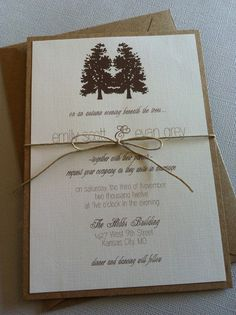 Rustic Evergreen Trees Wedding Invitation. $2.00, via Etsy.