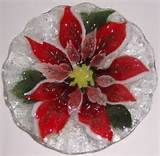 RESERVED for Deerone Fused Glass Candy Dish Poinsettia by CDChilds