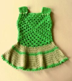 Groene jurk met ivoorwit in maat 62-68   Jurkjes   Mevrouw Splinter