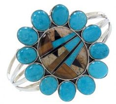 Multicolor Turquoise Inlay And Genuine Sterling Silver Cuff Bracelet AW70351 http://www.silvertribe.com