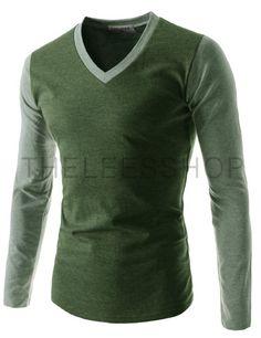 (TCA15-GREENLGREEN) Mens Casual Slim Fit V-neck Long Sleeve Tshirts