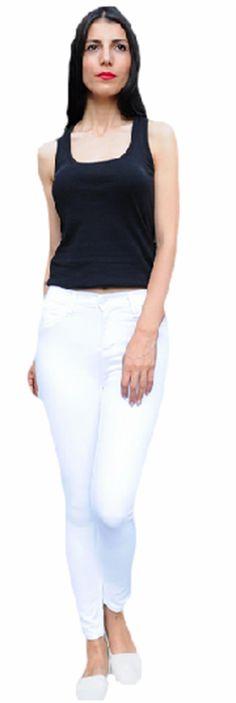 Yüksek Bel Beyaz Likralı Pantolon | Modelleri ve Uygun Fiyat Avantajıyla | Modabenle