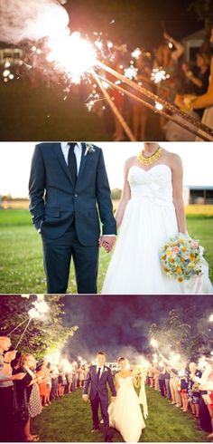 Sparklers would be nice since bubbles have been vetoed... but maybe not ideal for an afternoon wedding!