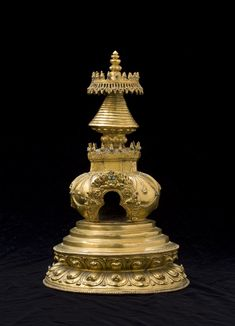 "Gilt Copper Alloy Stupa Tibet 15th century Height: 12½"" (32 cm)"