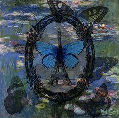 Paris Waterflies  Original Digital Collage Print by AnitaBarnard, $15.00