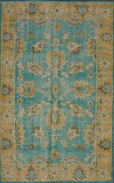 Darius 100% Wool Area Rug in Turquoise design by NuLoom I Burke Decor